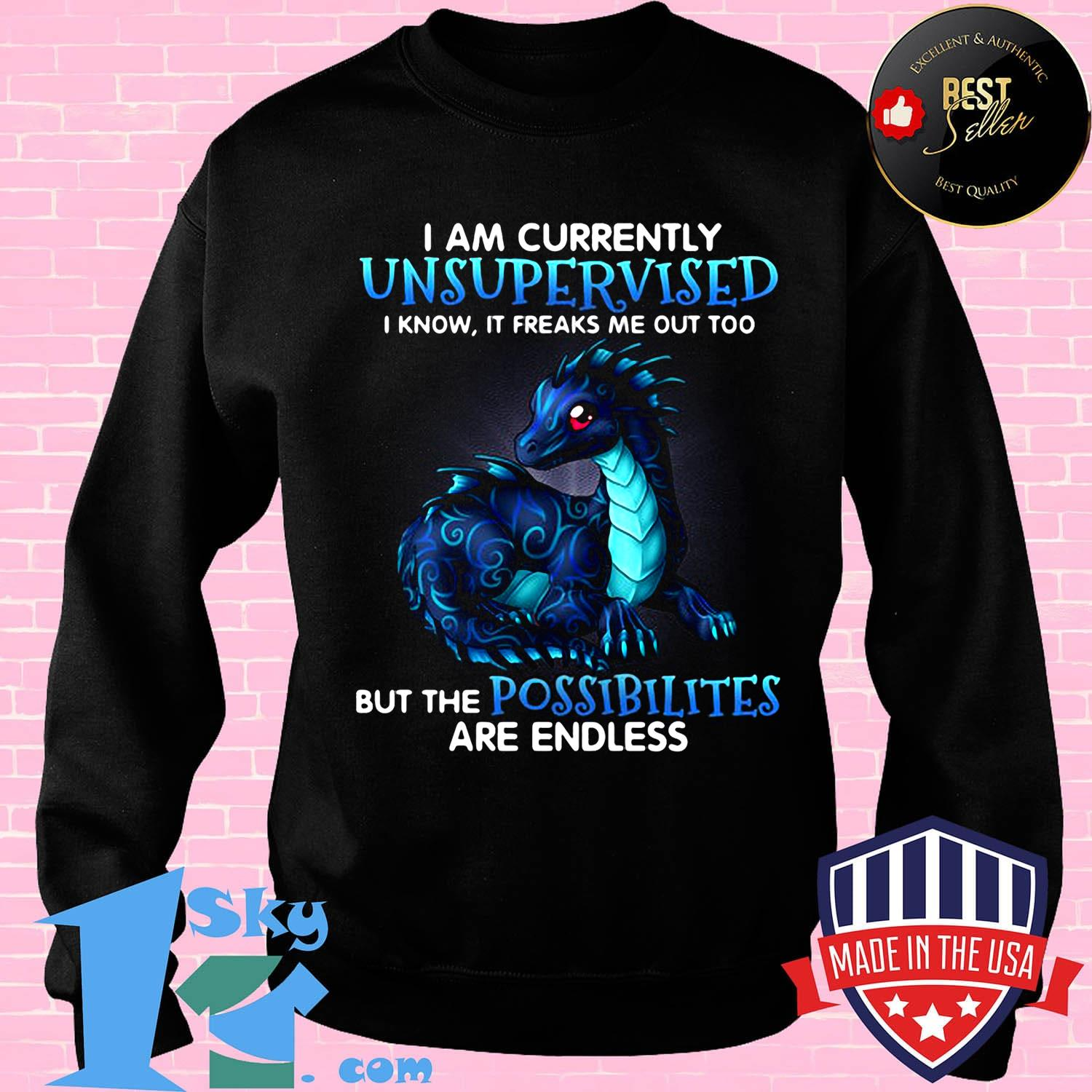 I Am Currently Unsupervised I Know If Freaks Me Out Too But Me Possibilities Dragon Shirt