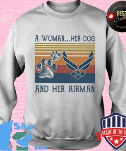 A woman her paw dog and her airman vintage retro s Sweater