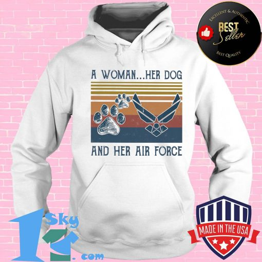 A woman her paw dog and her air force vintage retro shirt