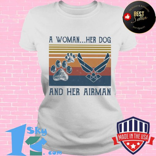 A woman her paw dog and her airman vintage retro shirt