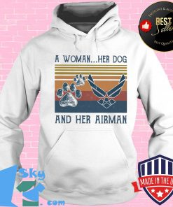 A woman her paw dog and her airman vintage retro s Hoodie