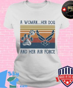 A woman her paw dog and her air force vintage retro s V-neck