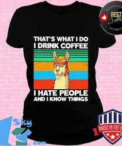Llama That's what I do I drink coffee I hate people and I know things Vintage retro s V-neck