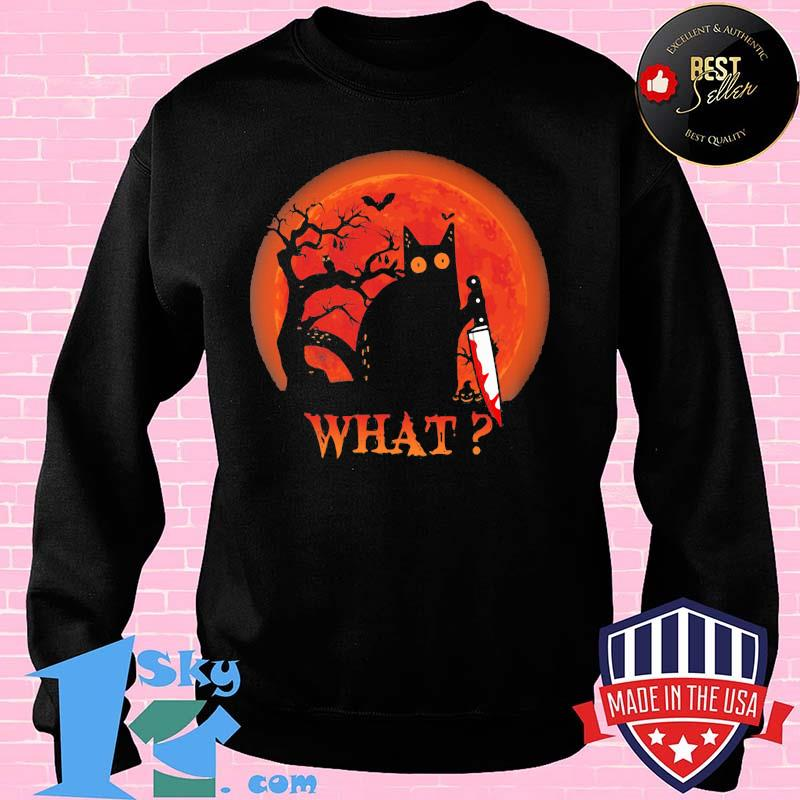 7545dba1 cat what murderous black cat with knife halloween shirt sweater - Shop trending - We offer all trend shirts - 1SkyTee