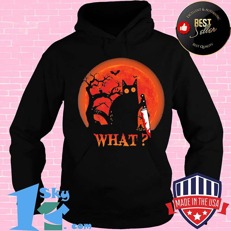 9a5a6a68 cat what murderous black cat with knife halloween shirt hoodie - Shop trending - We offer all trend shirts - 1SkyTee