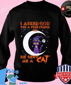 I Asked God For A True Friend So He Sent Me A Cat Halloween Shirt