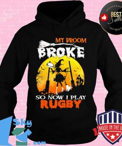 My Broom Broke So Now I Play Rugby Witch Moon Halloween Shirt