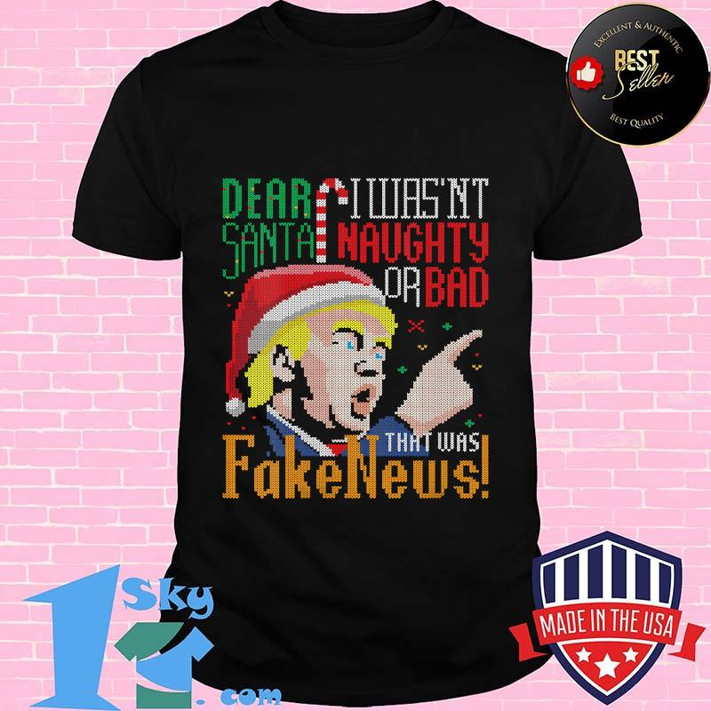 Fake News Us President Donald Trump Ugly Christmas Santa Clause Shirt