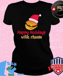Happy Holidays With Cheese Hat Santa Clause Christmas Shirt V-neck