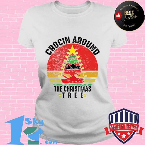 Crocin around the christmas tree funny vintage retro shirt