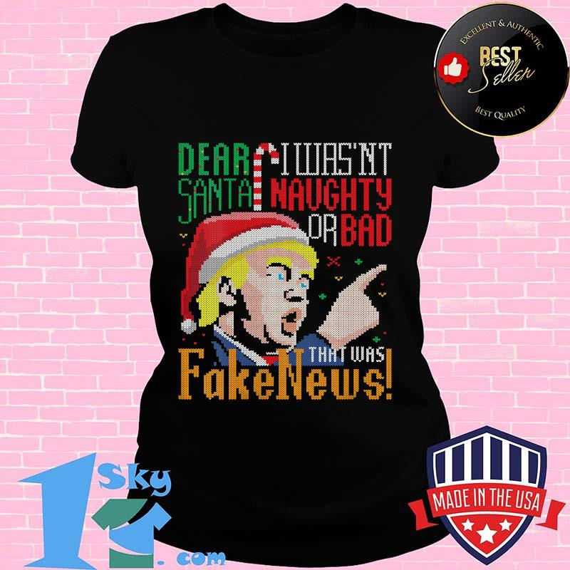 Fake News Us President Donald Trump Ugly Christmas Santa Clause Shirt V-neck