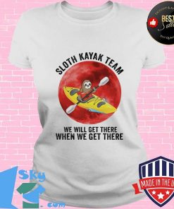 Sloth Kayak Team We Will Get There When We Get There Moon Blood Shirt V-neck