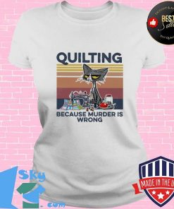 Quilting Because Murder Is Wrong Old Cat Vintage Shirt V-neck