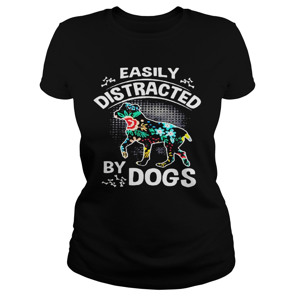 Official Easily Distracted By Dogs fittle ladies tee