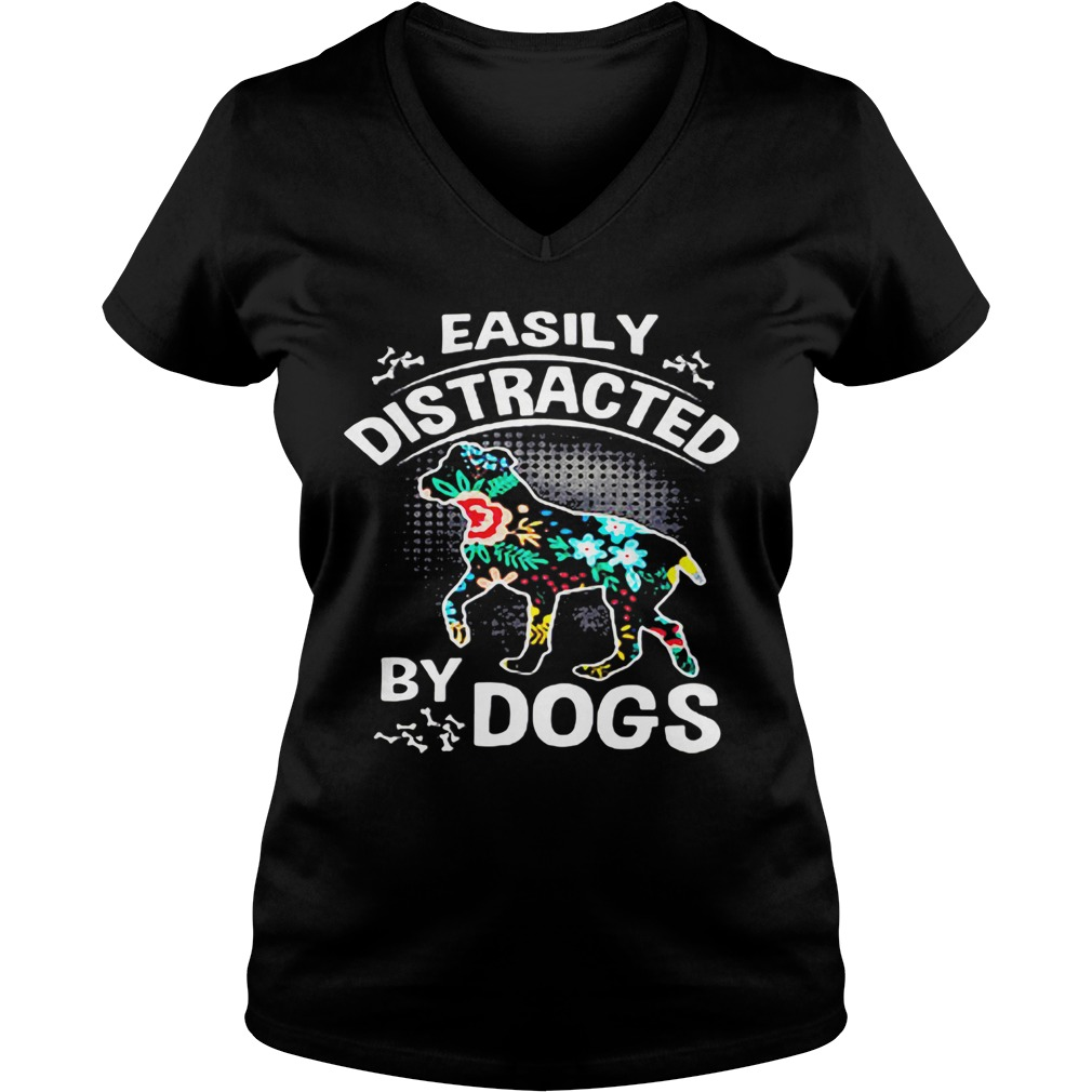 Official Easily Distracted By Dogs ladies v-neck