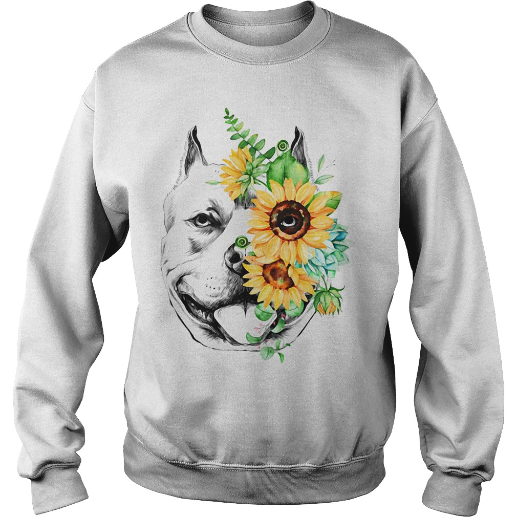 Pitbull Face Flower Shirt Pitbull Mom Gift Pittie Mom SweatShirt