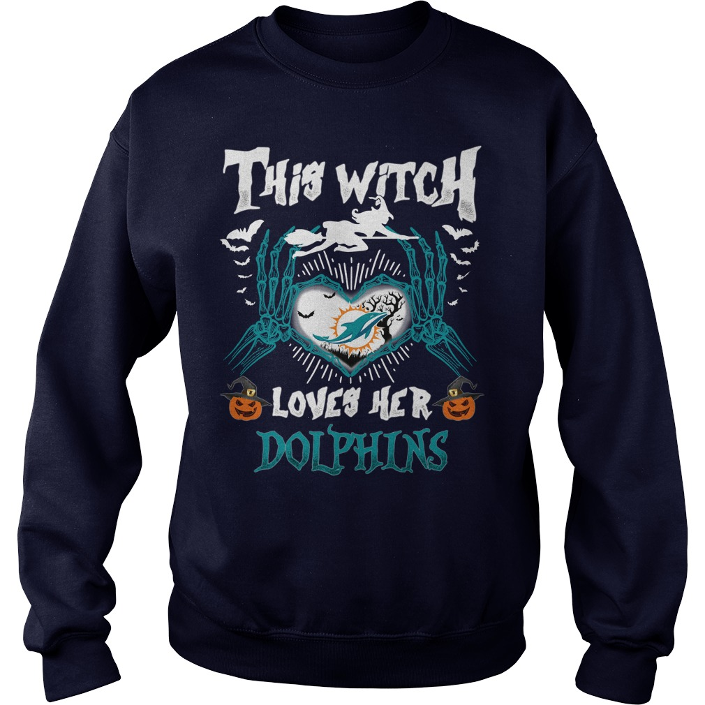 Miami Dolphins This Witch Loves Her Dolphins Halloween sweatShirt