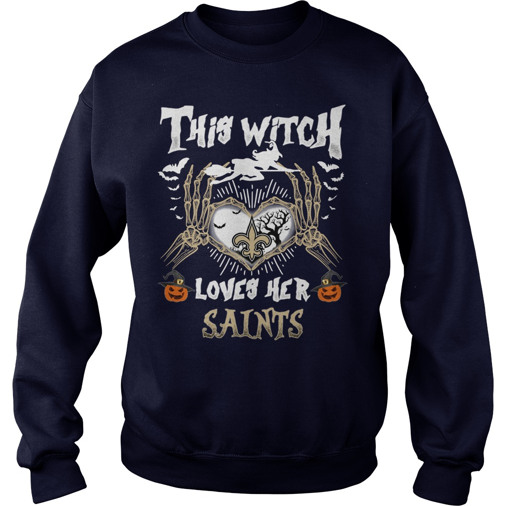 New Orleans Saints This Witch Loves Her Saints Halloween SweatShirt