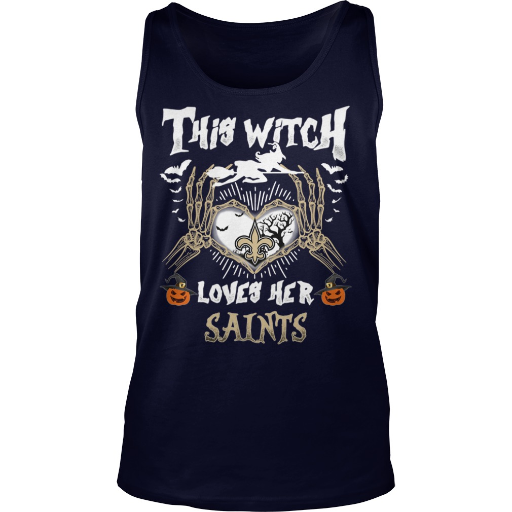 New Orleans Saints This Witch Loves Her Saints Halloween ladies tee