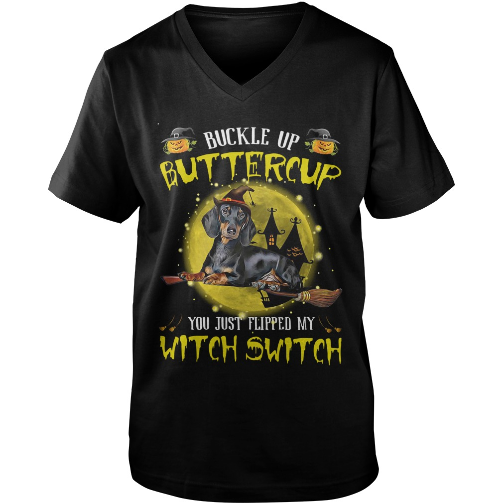 Buckle Buttercup Just Flipped Witch Switch Dog German Shepherd Halloween Guys V Neck
