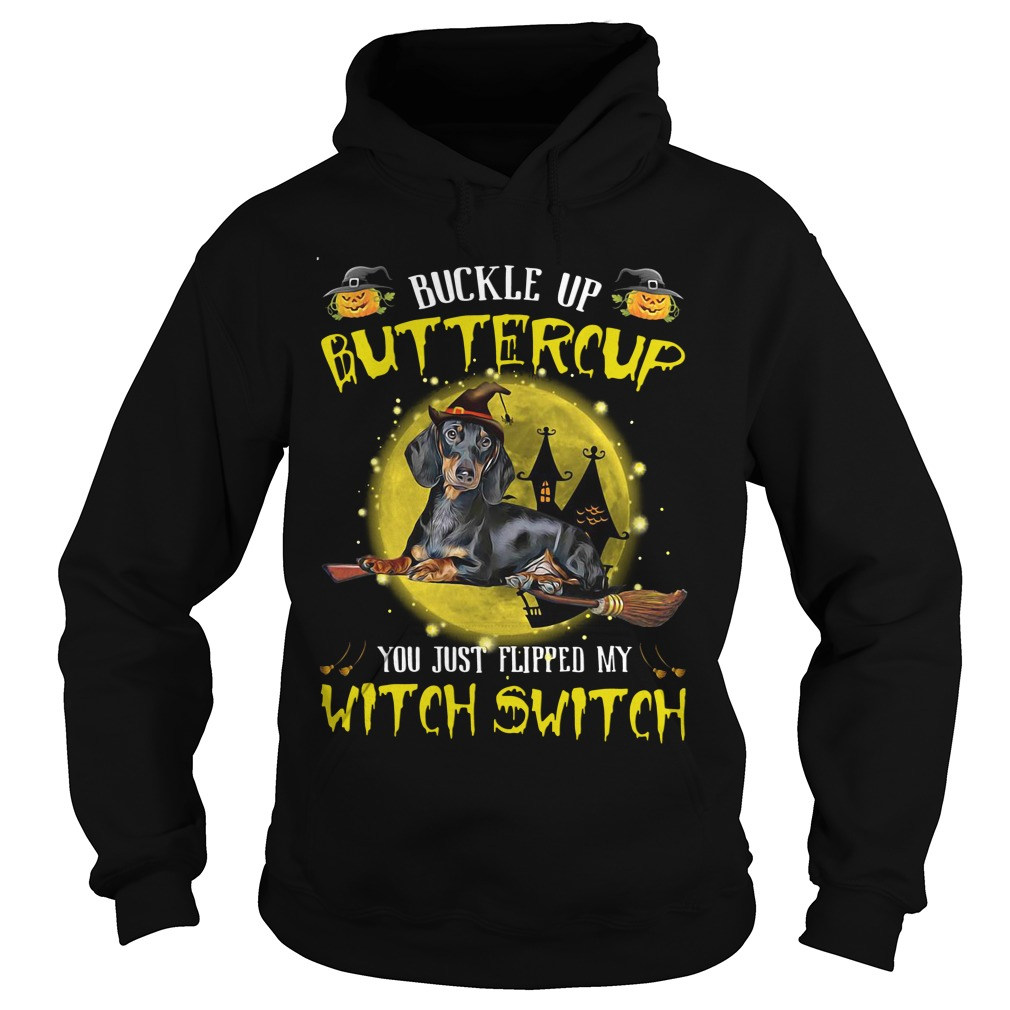 Buckle Buttercup Just Flipped Witch Switch Dog German Shepherd Halloween Hoodie