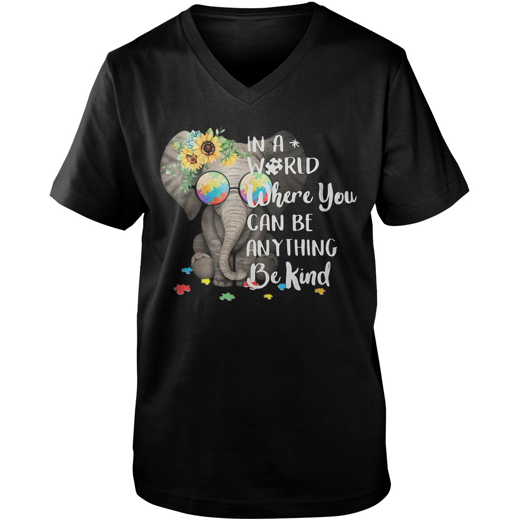 Elephant Sunflower In A World Where You Can Be Anything Be Kind guys v-neck