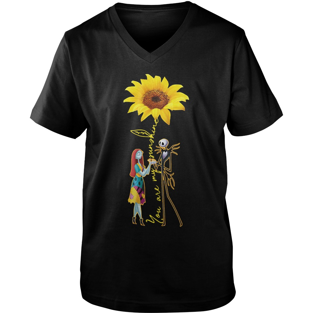 Jack Skellington And Sally Sunflower You Are My Sunshine guys v-neck