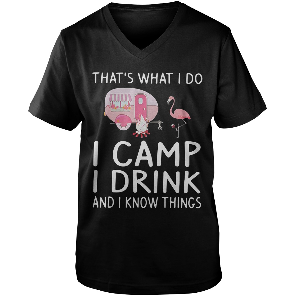 Flamingo That's What I Do I Camp I Drink And I Know Things guys v-neck