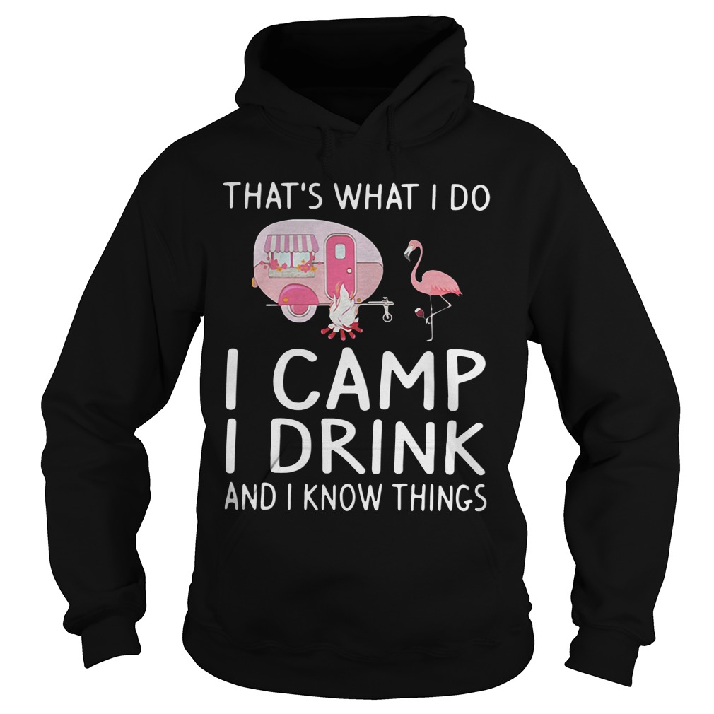Flamingo That's What I Do I Camp I Drink And I Know Things hoodie