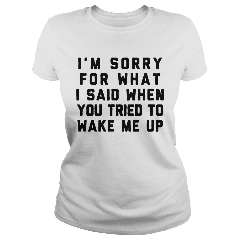 I'm Sorry For What I Said When You Tried To Wake Me Up ladies tee