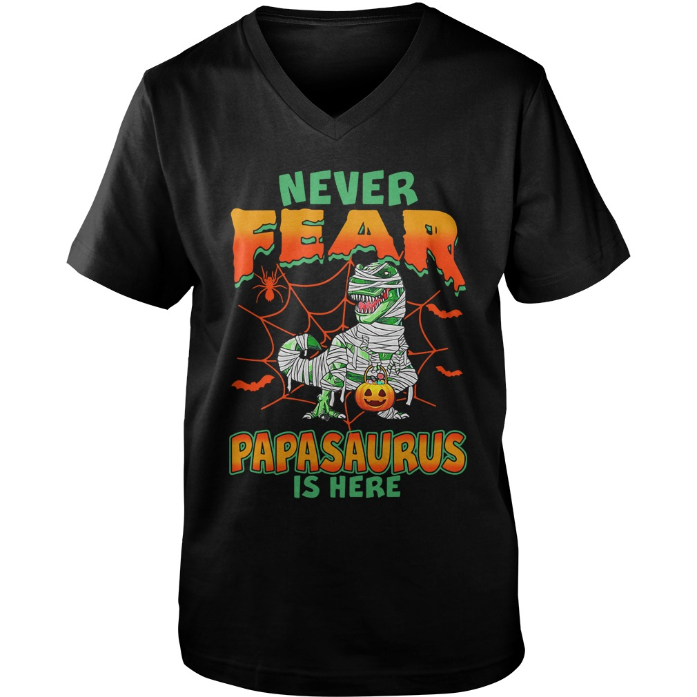 Never Fear Papasaurus Is Here guys v-neck
