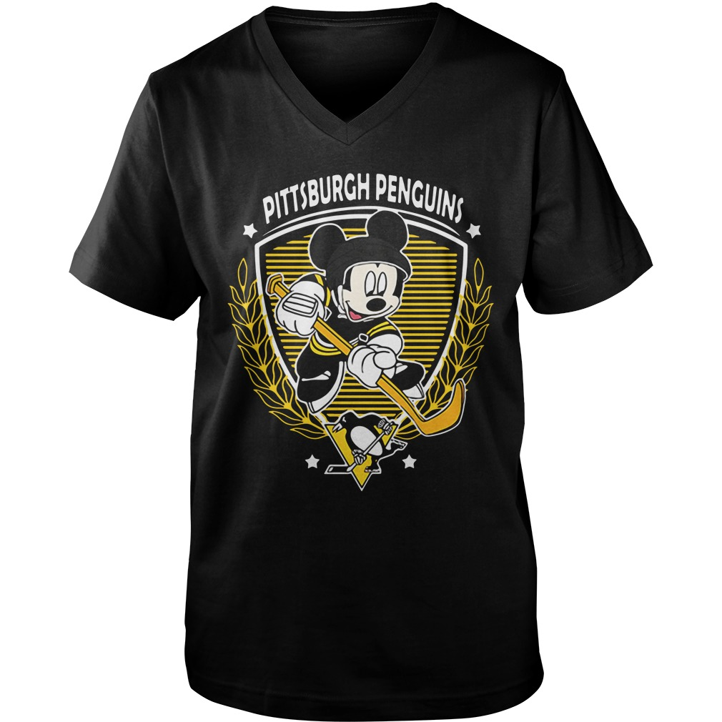 Nhl Hockey Mickey Mouse Team Pittsburgh Penguins guys v-neck