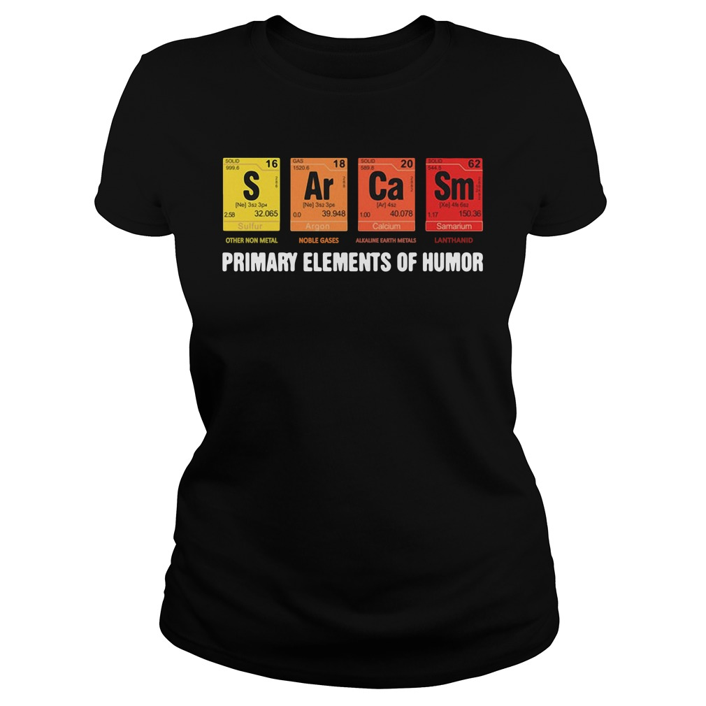 Official Mens Sarcasm Elements Of Humor Periodic Table ladies tee