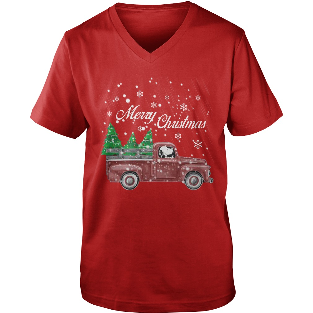 Tree Dog Car Merry Christmas guys v-neck