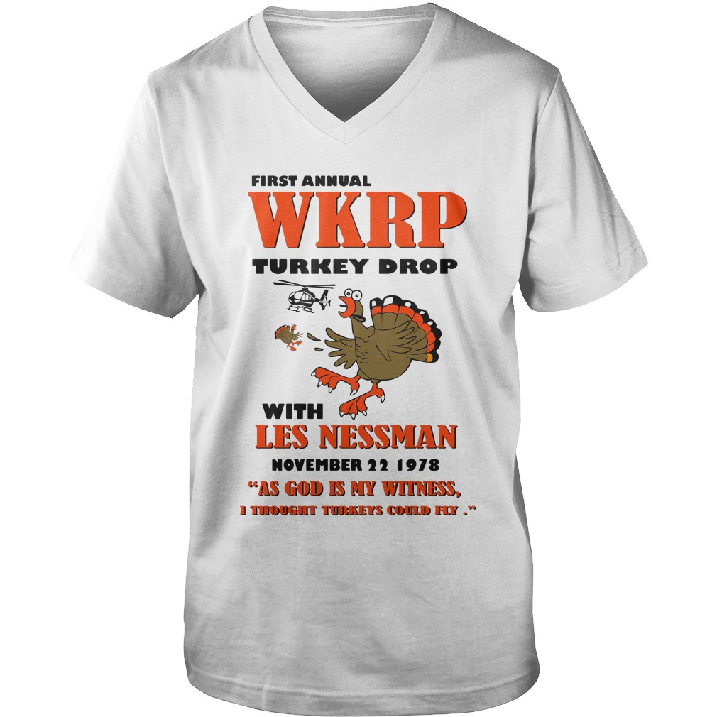 First Annual Wkrp Turkey Drop With Les Nessman November 22 1978 guys v-neck