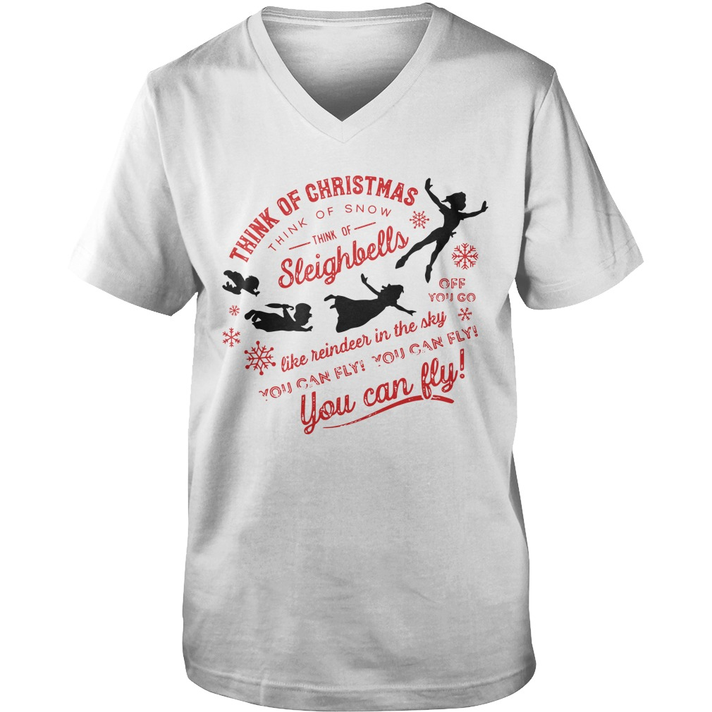 Think Of Christmas Think Of Snow Peter Pan You Can Fly guys v-neck