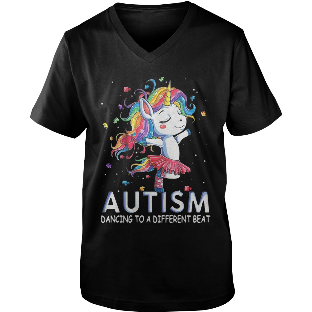 Unicorn Ballet Autism Dancing To A Different Beat guys v-neck