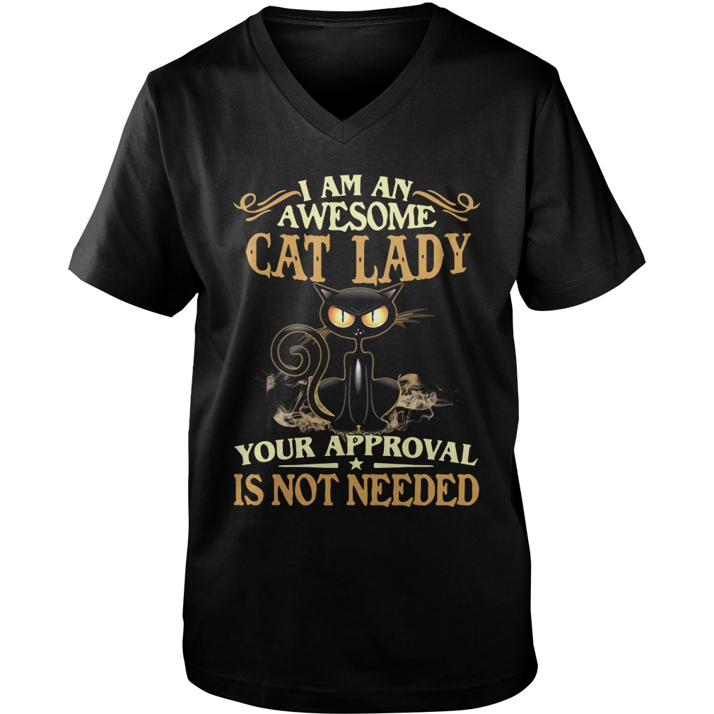 I Am An Awesome Cat Lady Your Approval Is Not Needed v-neck