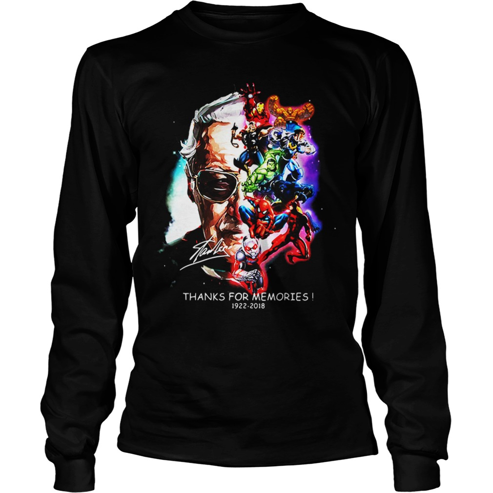 Stan Lee With Superhero Thanks For Memories 1922 – 2018 long sleeve