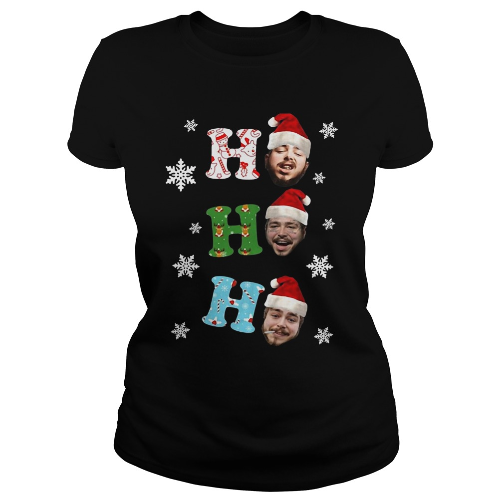 Post Malone Ho Ho Ho Merry Christmas ladies tee