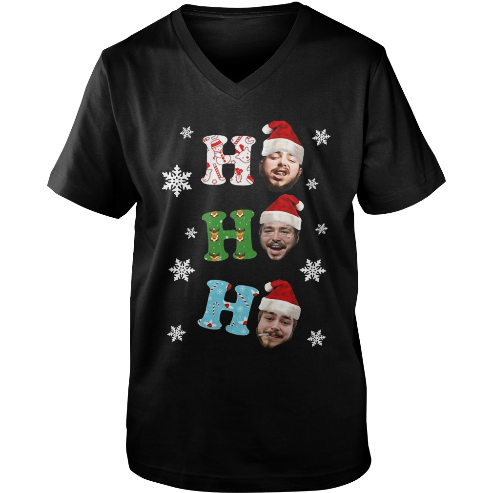 Post Malone Ho Ho Ho Merry Christmas v-neck