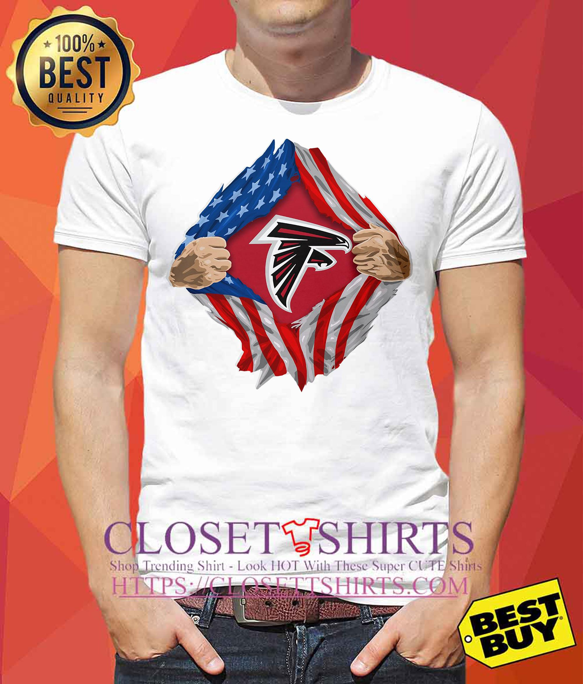 Atlanta Falcons Torn American Flag tank top