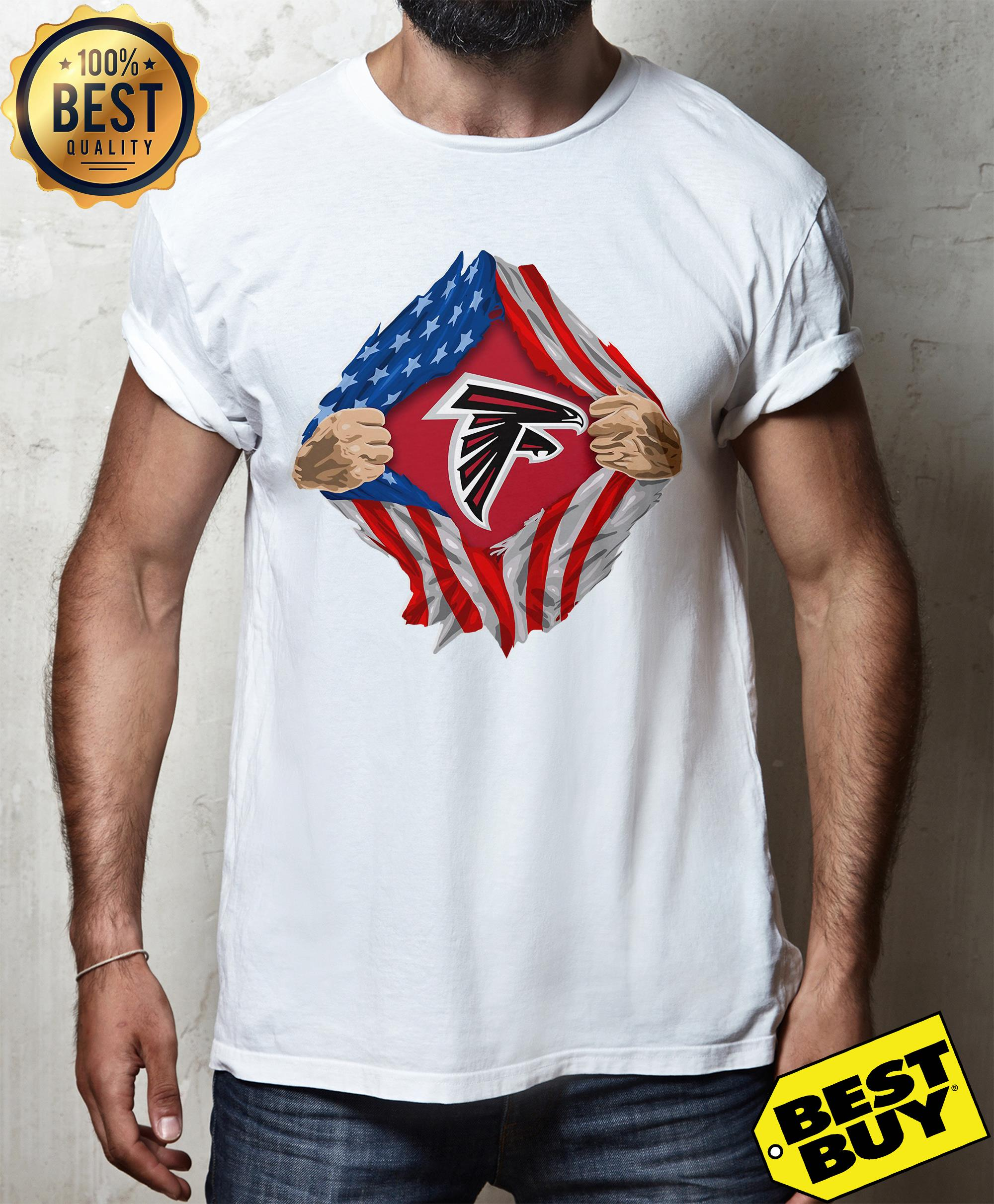 Atlanta Falcons Torn American Flag v-neck