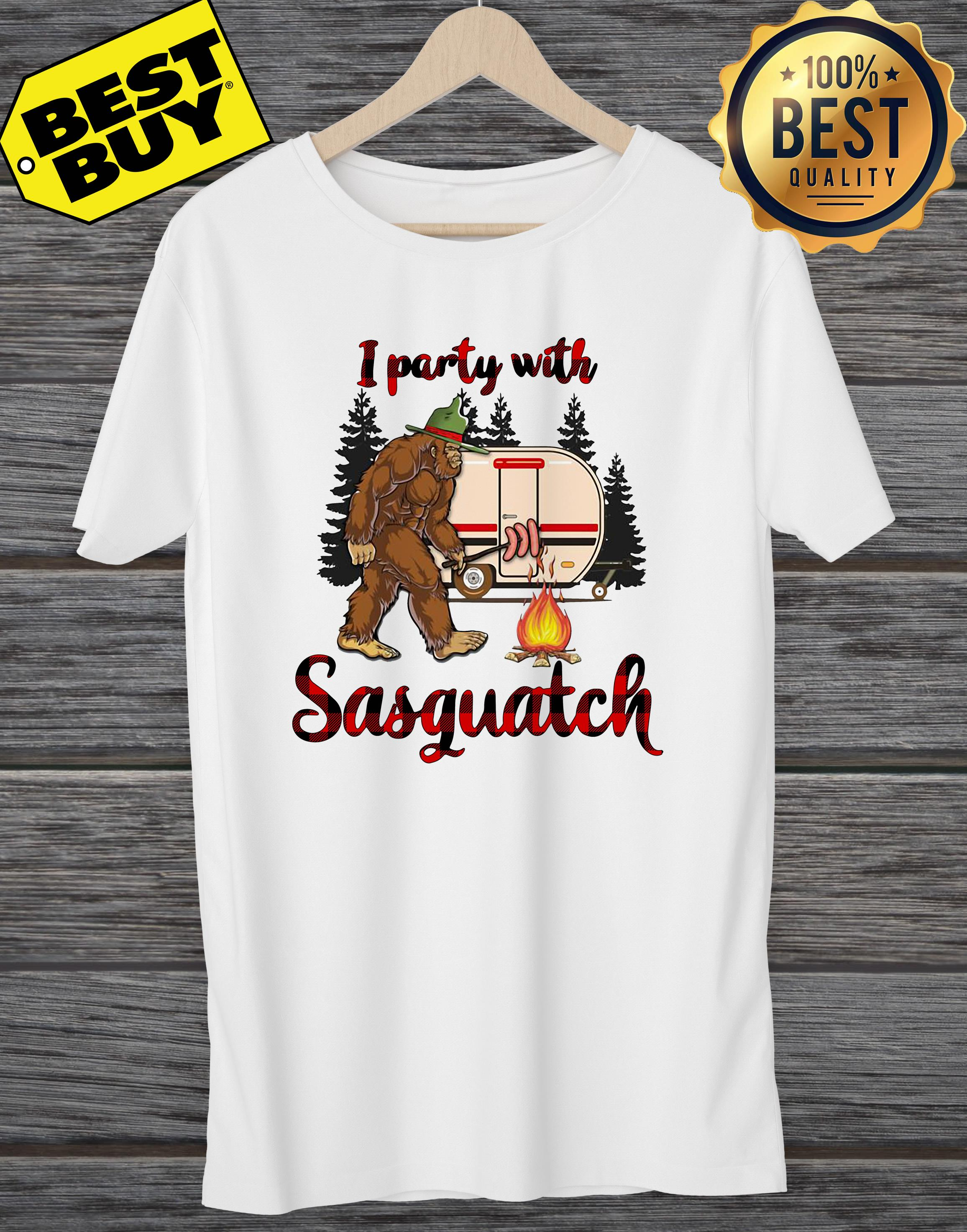 Bigfoot Camping I Party With Sasquatch Funny ladies tee