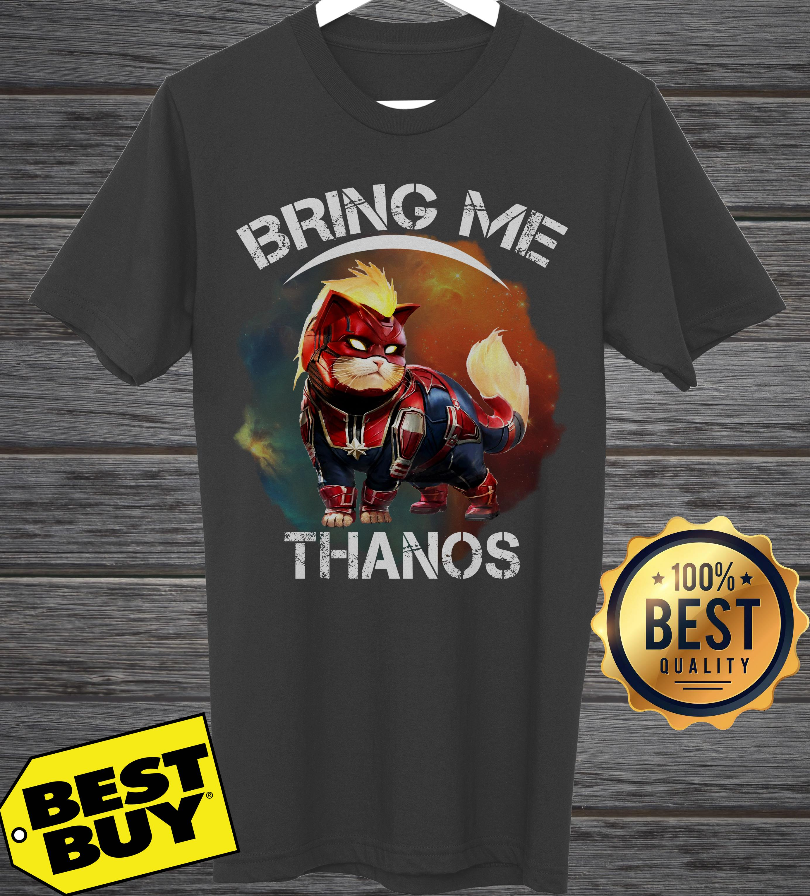 Cat Goose Wearing Captain Marvel Star Force Costume Bring Me Thanos ladies tee