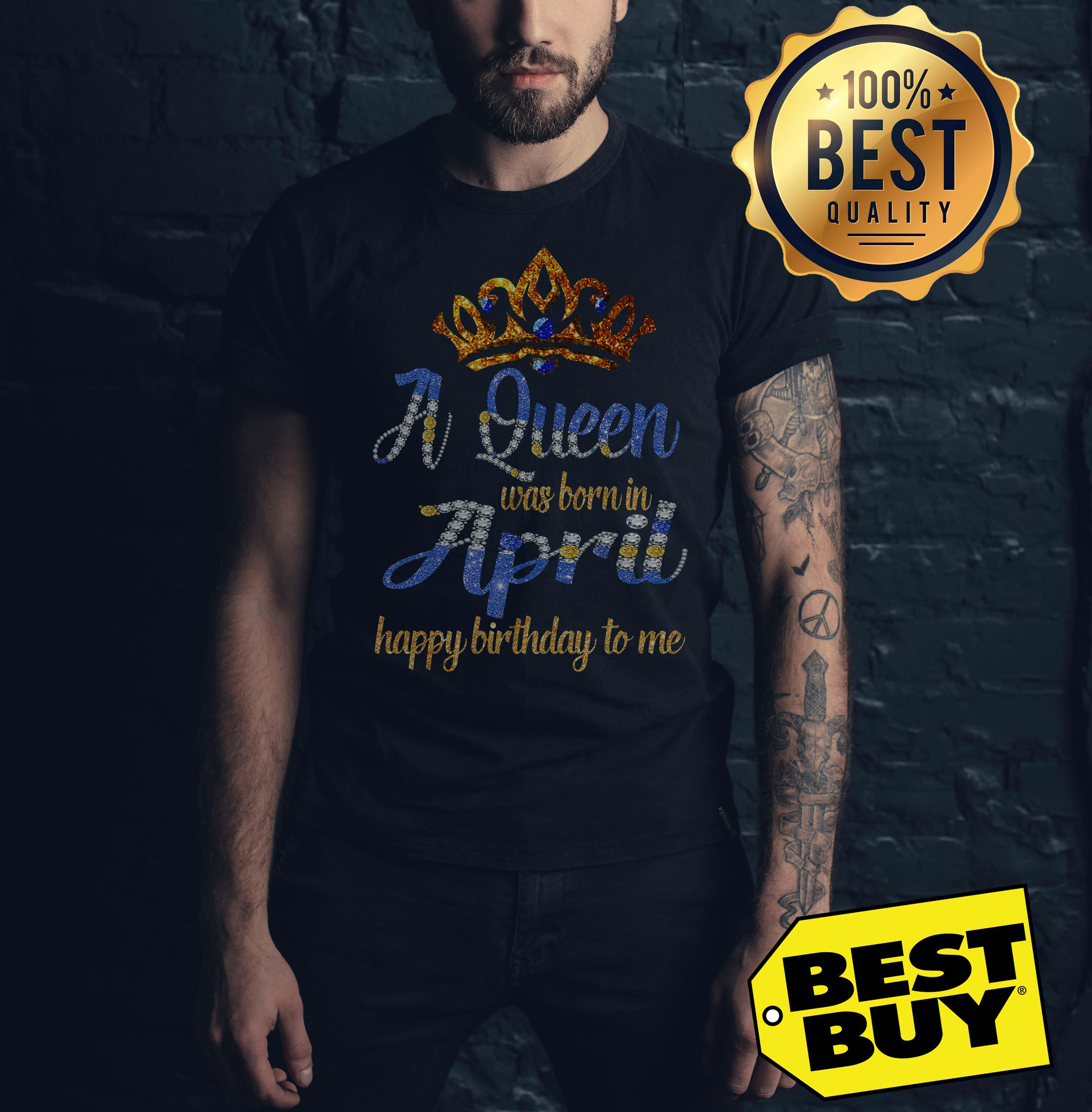 Diamond A Queen Was Born In April Happy Birthday To Me tank top