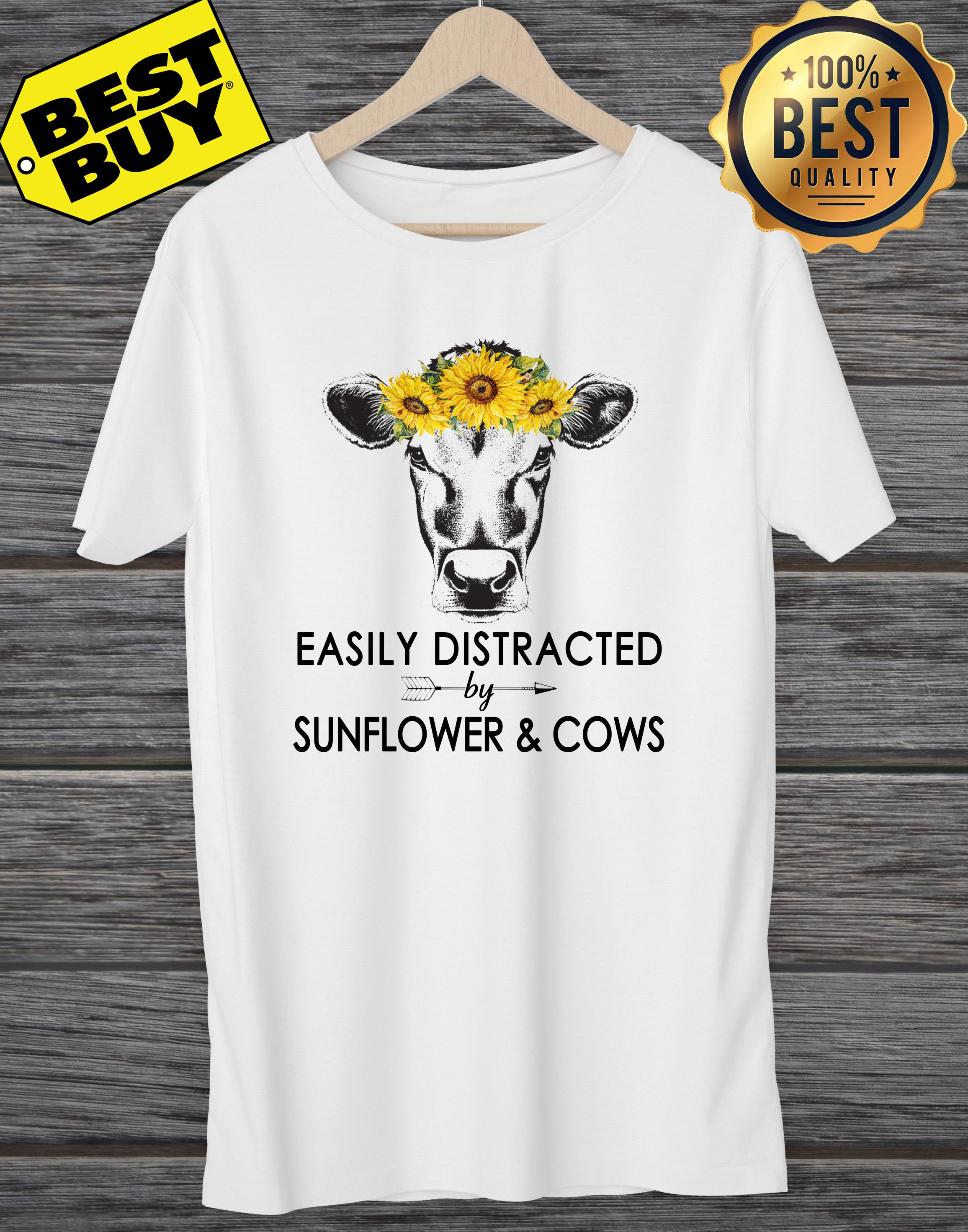 Easily Distracted By Sunflower And Cows ladies tee