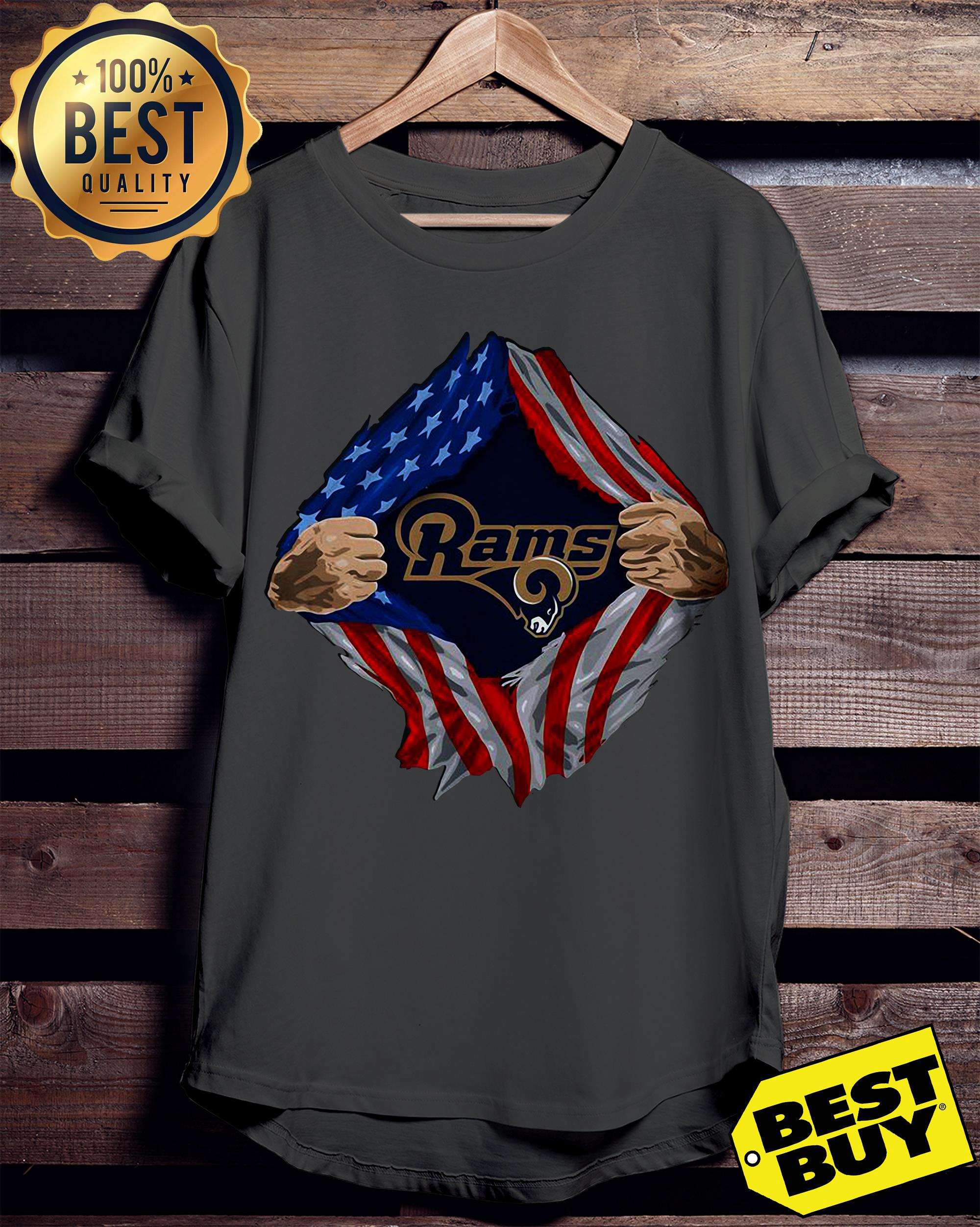 Los Angeles Rams Torn American Flag v-neck