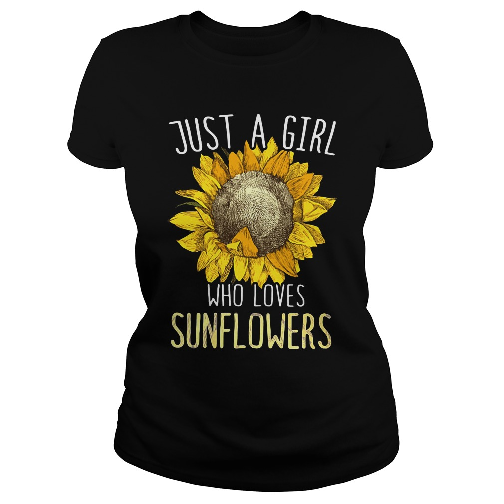 official just girl loves sunflowers ladies tee - Just a girl who loves sunflowers shirt
