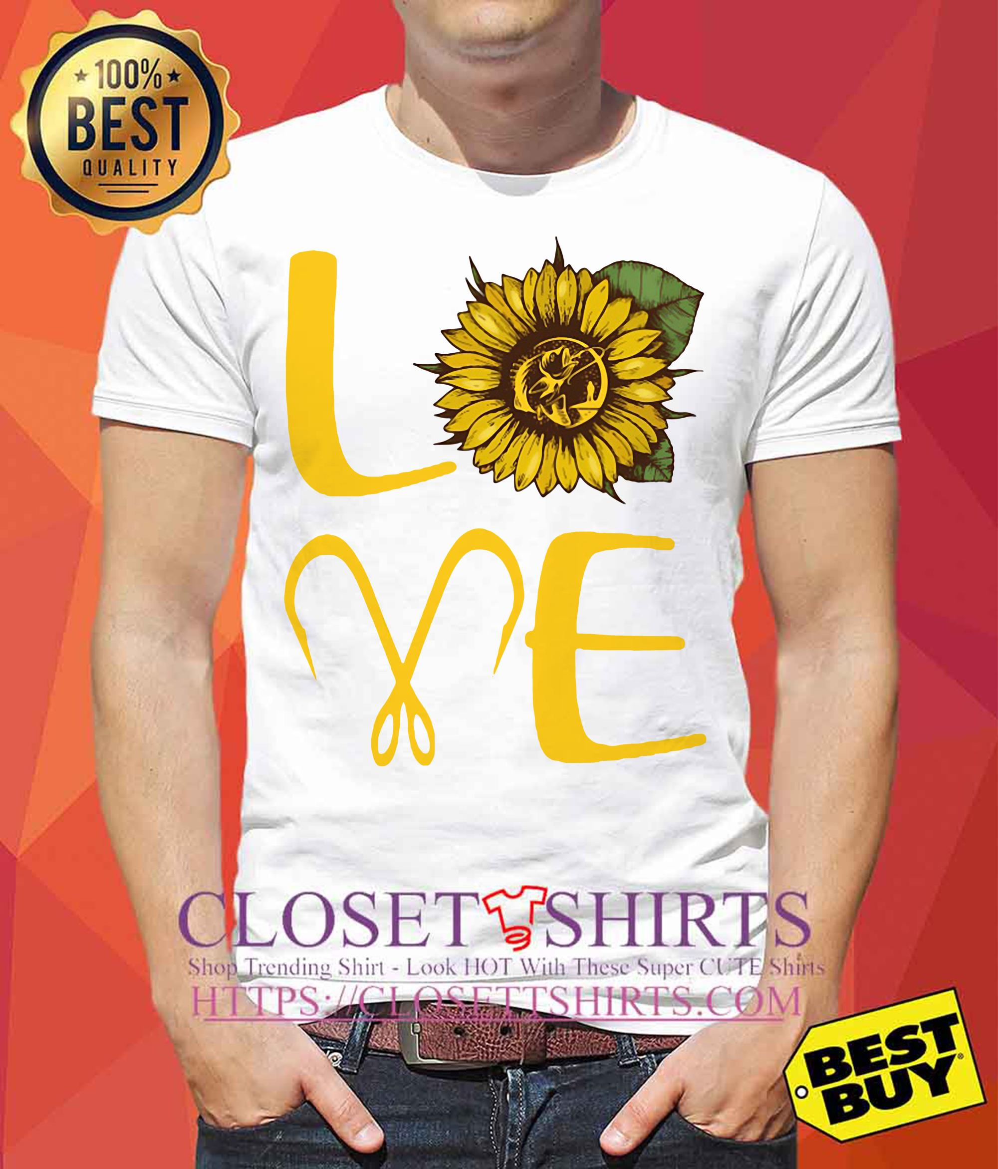 Sunflower Love Fishing Funny tank top